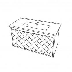 Baza suspendata cu sertar, cappuccino lucios, lavoar ceramic, 81 cm, Akri - 2