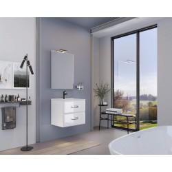 Mobilier baie, baza suspendata cu 2 sertare 61 cm, alb lucios, lavoar ceramic, Fly - 1