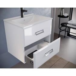 Mobilier baie, baza suspendata cu 2 sertare 61 cm, alb lucios, lavoar ceramic, Fly - 2