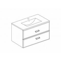 Mobilier baie, baza suspendata cu 2 sertare 61 cm, alb lucios, lavoar ceramic, Fly - 3