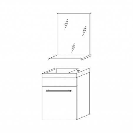 Set mobilier baie, lavoar 42 cm și oglindă cu poliță, rovere fumo, Perla - 1