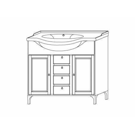 Baza mobilier cu lavoar ceramic, nuc, 86 cm, stil clasic, Legno Massello - 1