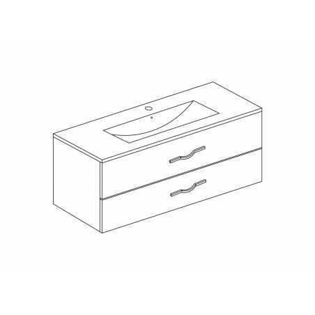 Mobilier baie cu 2 sertare și lavoar, stejar alb, 101x 53 x 47 cm, Corallo - 1