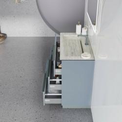 Baza cu picioare, 3 sertare 101 cm, albastru pastel mat, lavoar din HPL, Oikos - 2