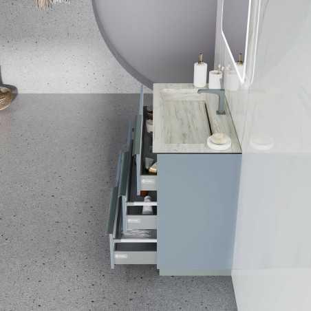 Baza cu picioare, 3 sertare 101 cm, albastru pastel mat, lavoar din HPL, Oikos - 1