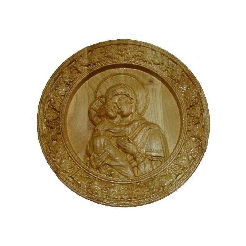 Icoana sculptata Maica Domnului, rama circulara, Lemn, 19,5 cm