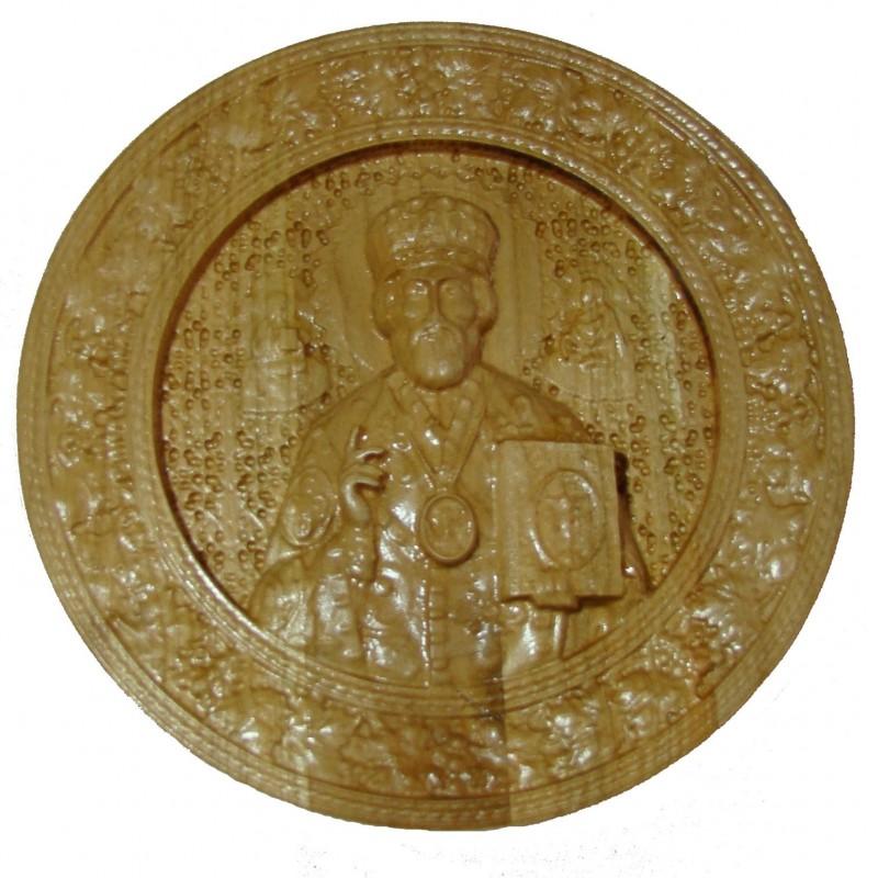 Icoana sculptata Sfantul Ierarh Nicolae, rama vita-de-vie, 19.5 cm