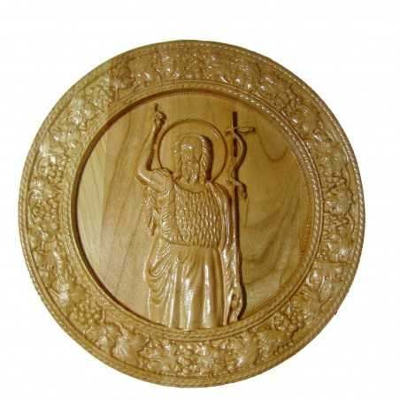 Icoana sculptata Sfantul Ioan Botezatorul, lemn masiv, cires salbatic, rama circulara vita-de-vie, diametru 19.5 cm