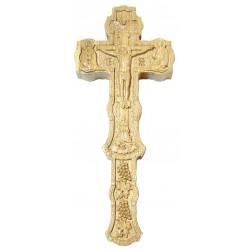 Cruce Binecuvantare sculptata, lemn masiv, stejar, dimensiuni 22.5x9.5 cm