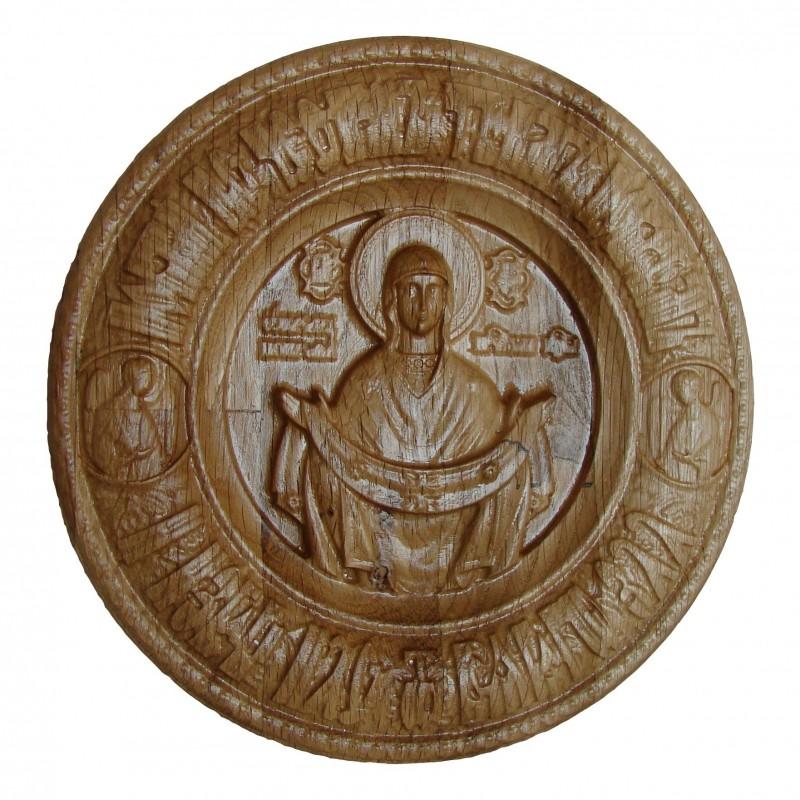 Icoana sculptata Sfantul Acoperamant, lemn masiv, diametru 17.5 cm