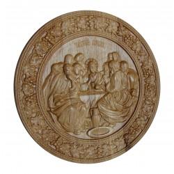 Icoana sculptata Cina cea de Taina, lemn masiv, rama circulara vita-de-vie, diametru 26 cm