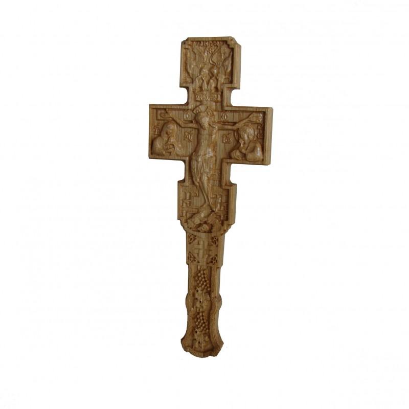 Cruce Binecuvantare sculptata, lemn masiv, stejar, Dimensiuni 22.5x8.5 cm