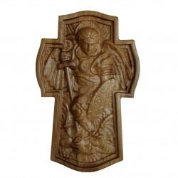 Arhanghelul Mihail biruind pe Satana, stejar, 26.5x16.5