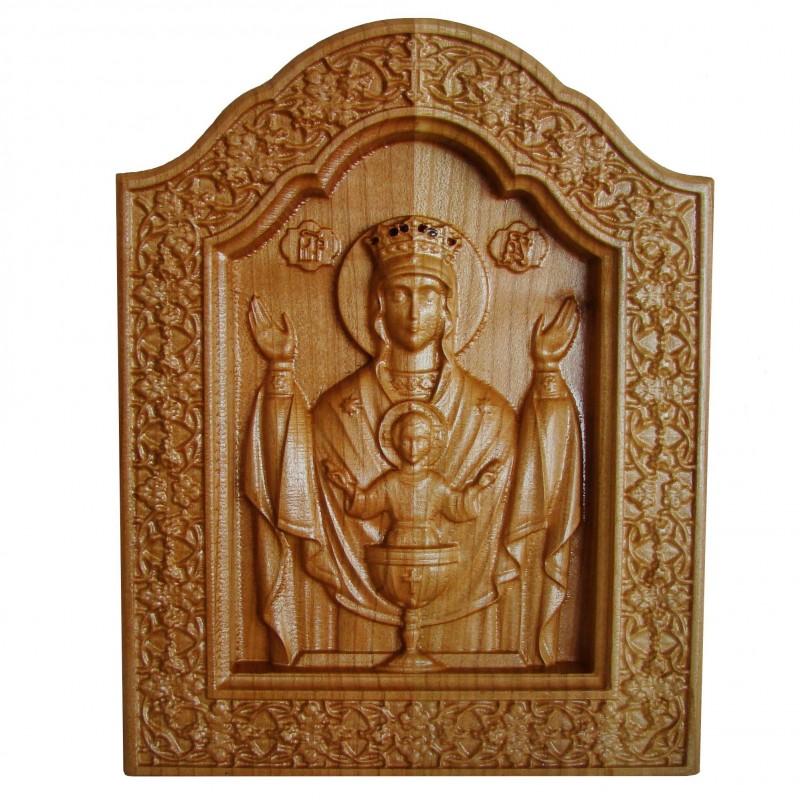Icoana sculptata Maica Domnului, Potirul Nesecat, 23x18cm
