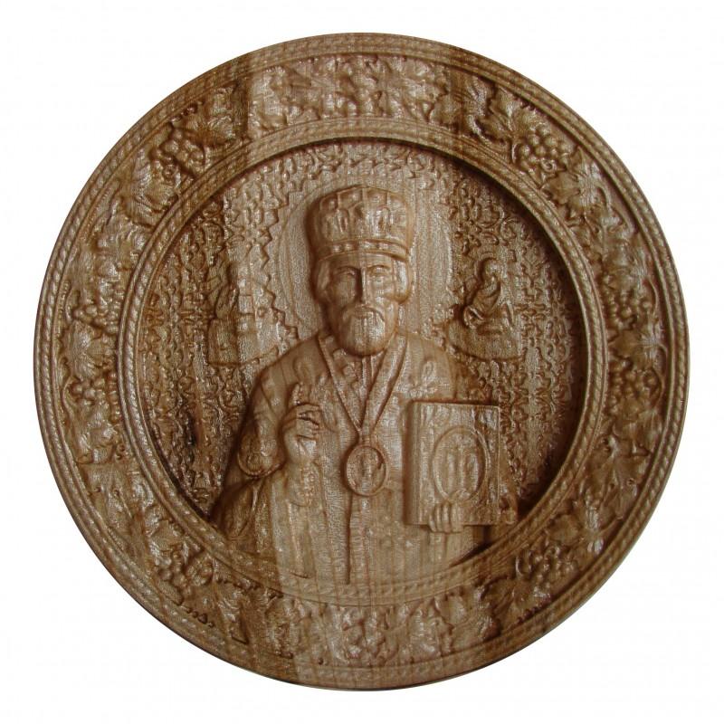 Icoana sculptata Sfantul Nicolae, Rotunda, diametru 25 cm.