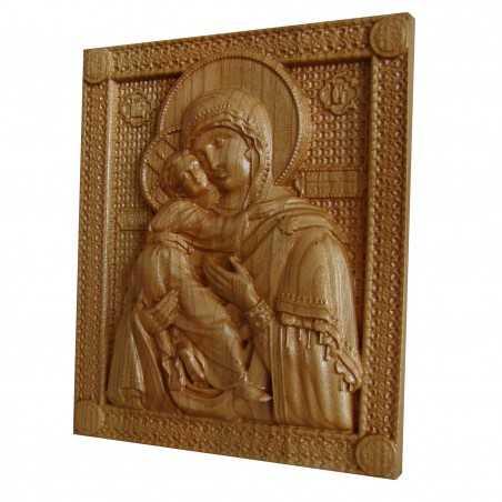 Icoana sculptata Maica Domnului, sculptura in lemn masiv, cires salbatic, 22x18.5 cm