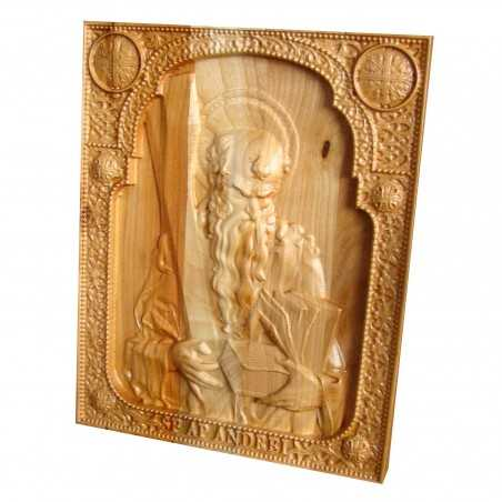 Icoana sculptata Sfantul Apostol Andrei, ocrotitorul Romaniei, 25x20cm