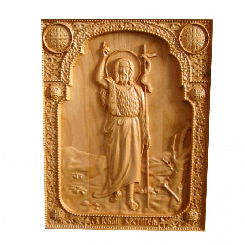 Icoana sculptata Sf. Ioan Botezatorul, cires salbatic, 25x20 cm