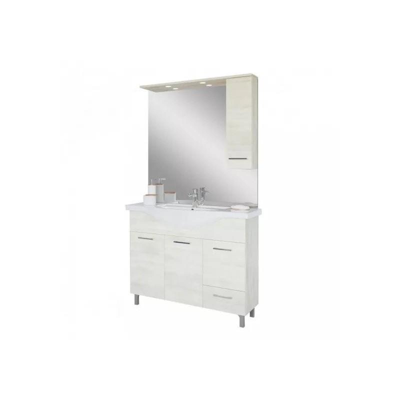 Baza cu 3 usi, 1 sertar, lavoar ceramic cm. 105 si oglinda cu dulapior, rovere bianco - 2
