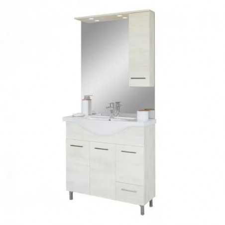 Baza cu 3 usi, 1 sertar, lavoar ceramic cm. 85 si oglinda cu dulapior, rovere bianco - 1