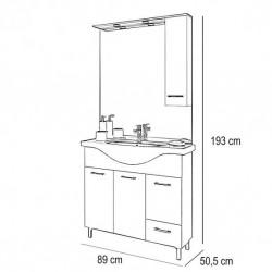 Baza cu 3 usi, 1 sertar, lavoar ceramic cm. 85 si oglinda cu dulapior, rovere bianco - 2