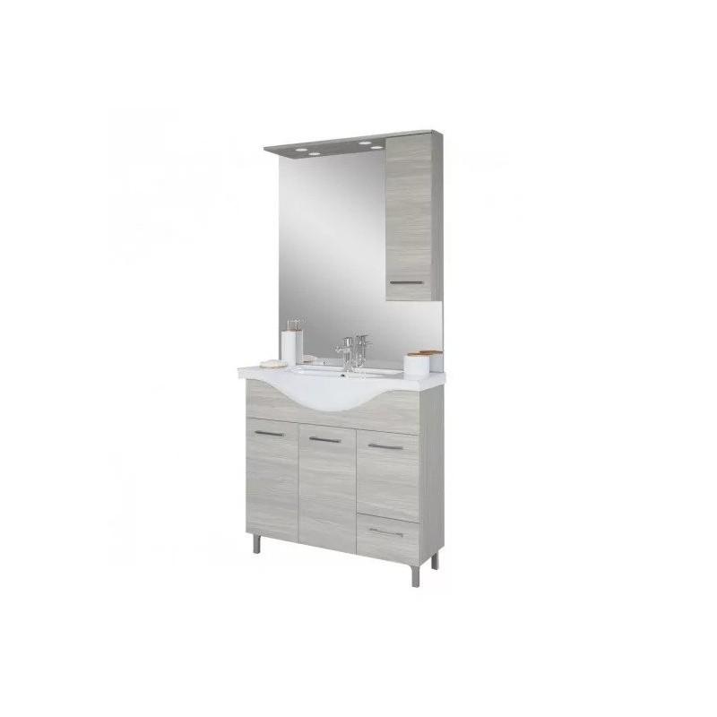 Baza cu 3 usi, 1 sertar, lavoar ceramic cm. 85 si oglinda cu dulapior, rovere grigio - 2