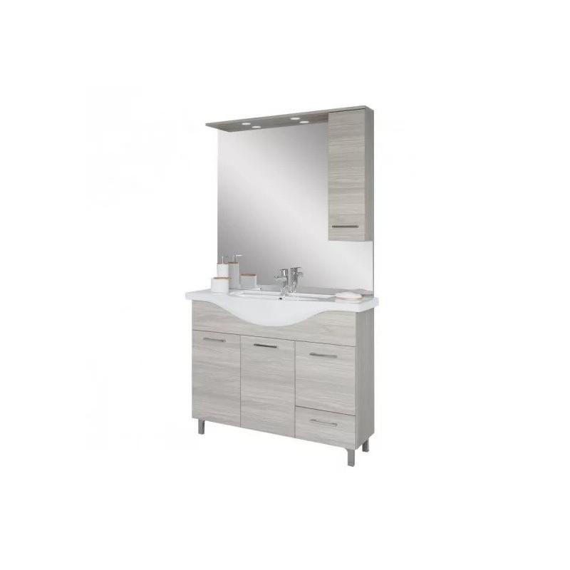 Baza cu 3 usi, 1 sertar, lavoar ceramic cm. 105 si oglinda cu dulapior, rovere grigio - 2