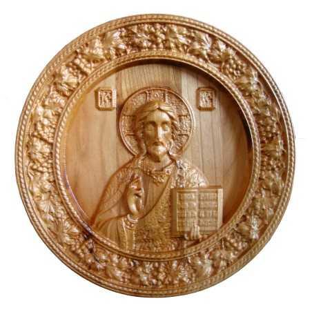Icoana sculptata Iisus Hristos, rama circulara, Lemn, 19,5 cm