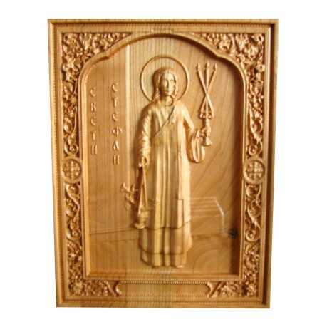 Icoana Sfantul Mucenic si Arhidiacon Stefan, sculptura in lemn masiv, 26x20 cm