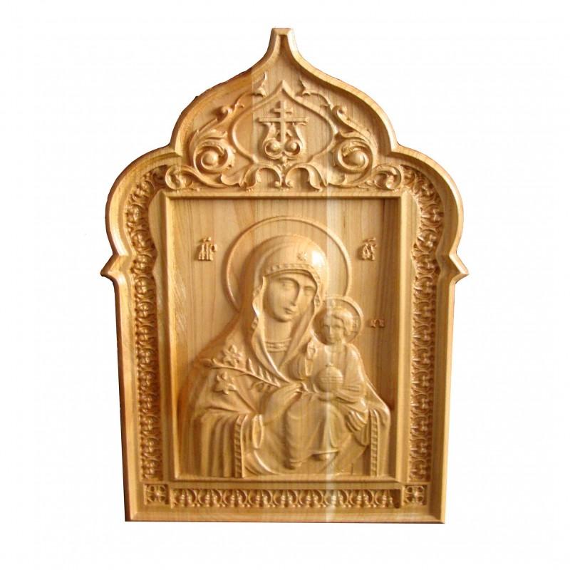 Icoana sculptata Maica Domnului cu Pruncul Iisus, 31x25 cm