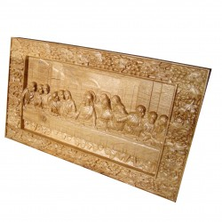 Icoana sculptata Cina cea de Taina, rama struguri, lemn masiv, stejar, 33x19.5 cm