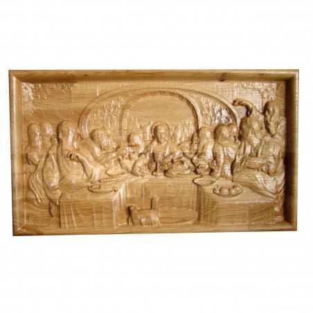 Icoana sculptata Cina cea de Taina, rama simpla, lemn masiv, stejar, 27.5x16 cm