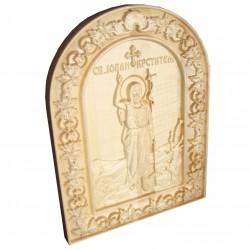Icoana sculptata Sfantul Ioan Botezatorul lemn masiv, 31x23,5 cm