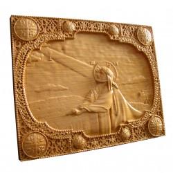 Icoana sculptata Rugaciunea din gradina Ghetsimani, lemn masiv, 31x25 cm