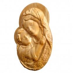Medalion sculptat Maica Domnului cu Pruncul Iisus 20x12.5 cm