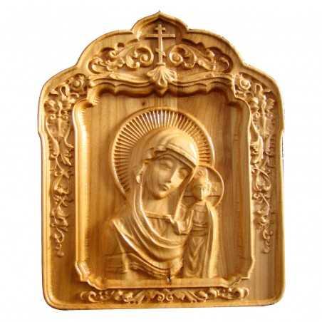 Icoana sculptata Maica Domnului cu Pruncul Iisus, lemn masiv, cires salbatic, 22x18,5 cm