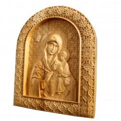 Icoana sculptata Maica Domnului cu Pruncul Iisus, lemn masiv, cires salbatic, 22,5x19 cm