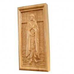 Icoana sculptata Sfanta Maria Egipteanca, lemn masiv, 19x9 cm