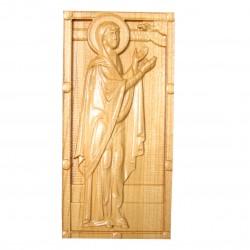 Icoana sculptata Sfanta Proorocita Ana, lemn masiv, Dimensiune 18.5x9 cm