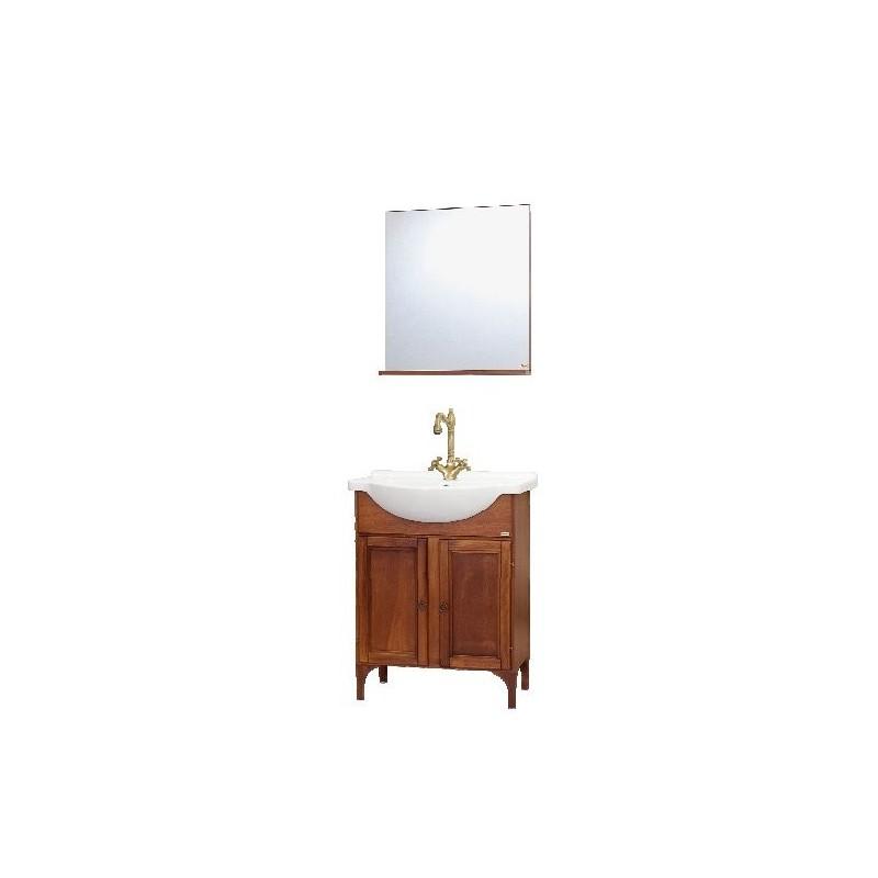 Baza cu picioare, 2 usi, lavoar ceramic 55 cm si oglinda cu polita noce - 1