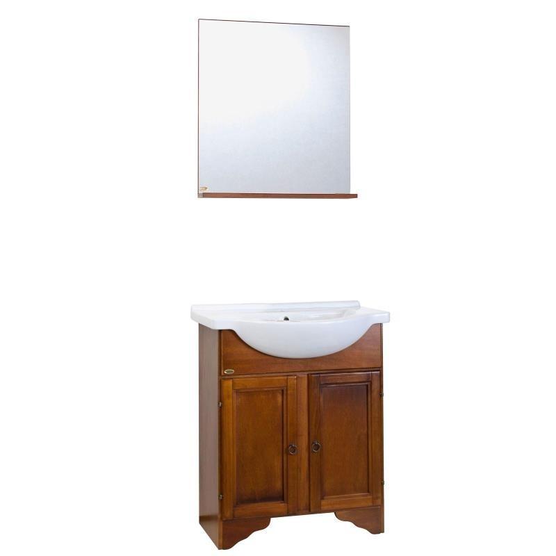 Baza cu soclu, 2 usi, lavoar ceramic 55 cm si oglinda cu polita noce - 1