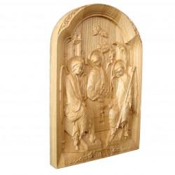 Icoana sculptata cu reprezentarea Sfintei Treimi, lemn masiv, dimensiune 27x18.5 cm