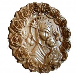 Icoana sculptata Maica Domnului cu Pruncul Iisus, rama trandafiri, circulara, diametru 25 cm