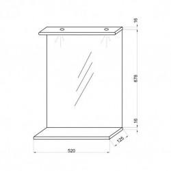 Baza cu 2 usi si lavoar 55 cm, Oglinda 52 cm cu polita si 2 spoturi LED - 2