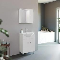 Set mobilier baie cu lavoar 55 cm, Oglinda cu dulapior si iluminare LED - 1