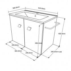 Set mobilier baie cu 2 sertare, lavoar si oglinda, stejar, 60 cm - 1