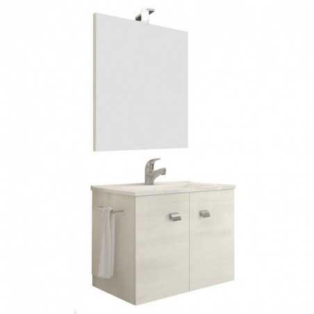 Set mobilier baie cu 2 sertare, lavoar si oglinda, stejar, 60 cm Zaffiro Fumo - 2